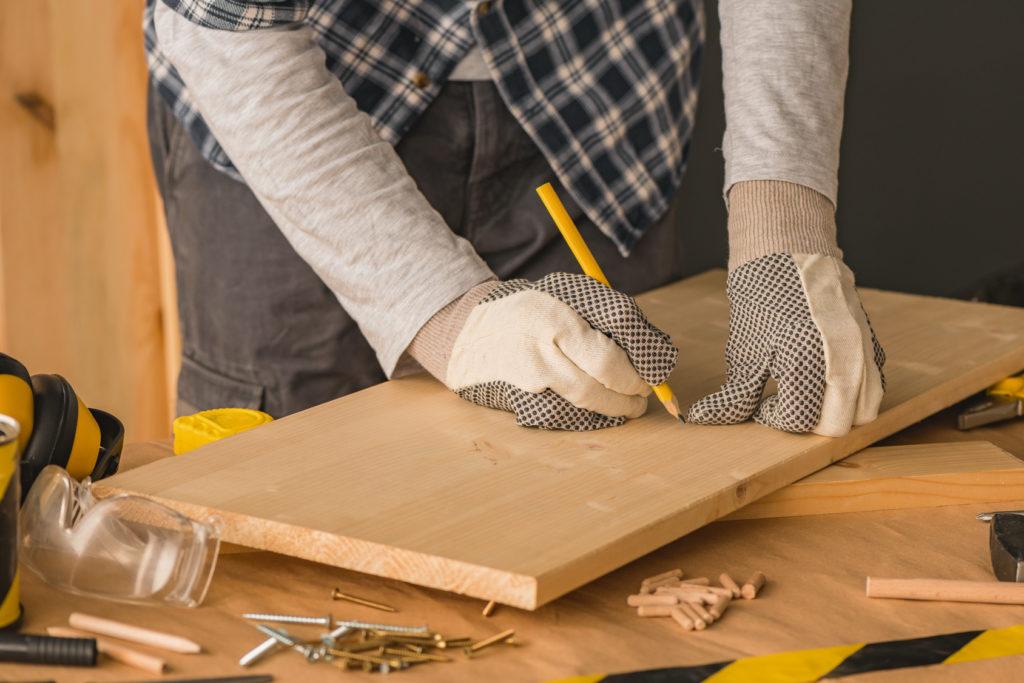 Carpenter marking pine