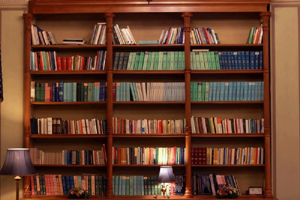 vintage book shelf